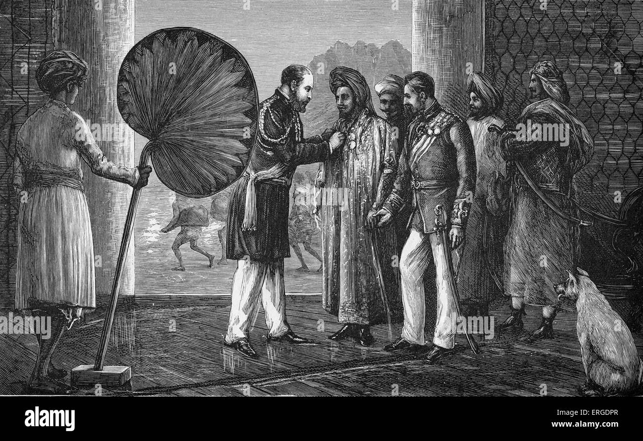 Prince of Wales decorating the Sultan of Lahej at Laden (modern day Yemen)  during his voyage to India in 1875. - Stock Image