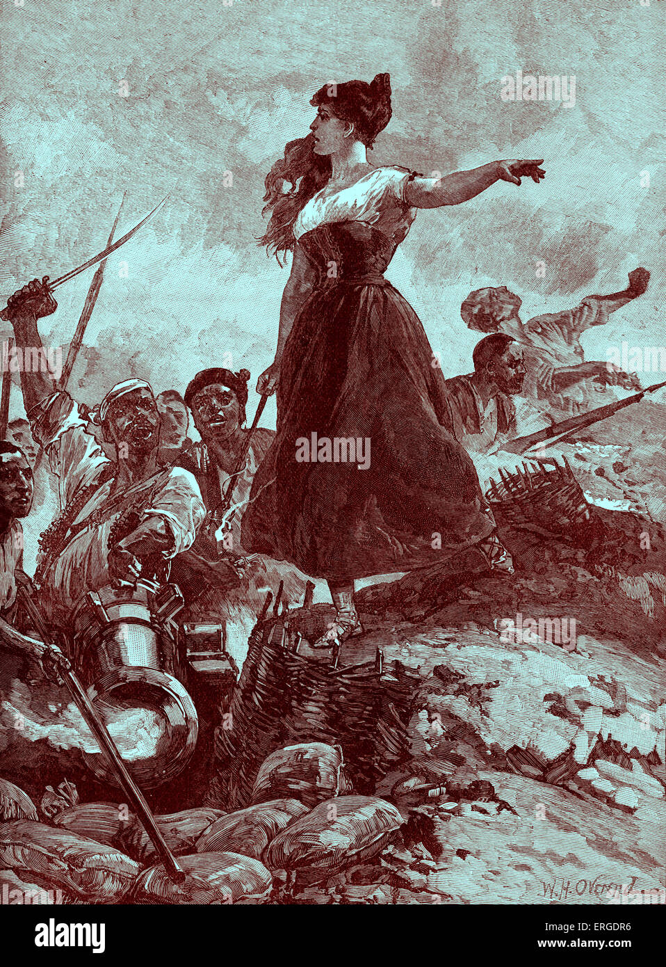 Heroism of the Maid of Saragossa / Zaragoza, Spain, 1808, by W. H. Overend. Agustina Raimunda María Saragossa Doménech, Stock Photo