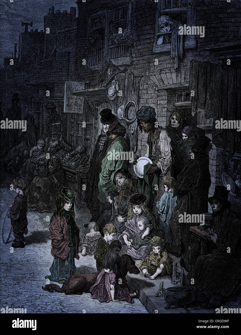 Victorian London- Whitechapel, Wentworth Street. East end of London. Jewish quarter. Engraving by Gustave Doré, - Stock Image
