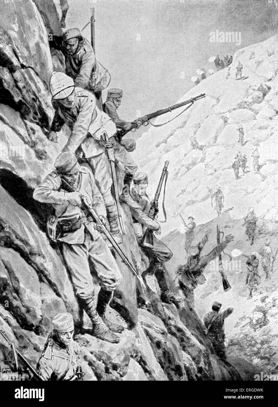 Gurkhas descending a pass under fire. During 1897 there was a series of attacks on British forces along the Afghan - Stock Image