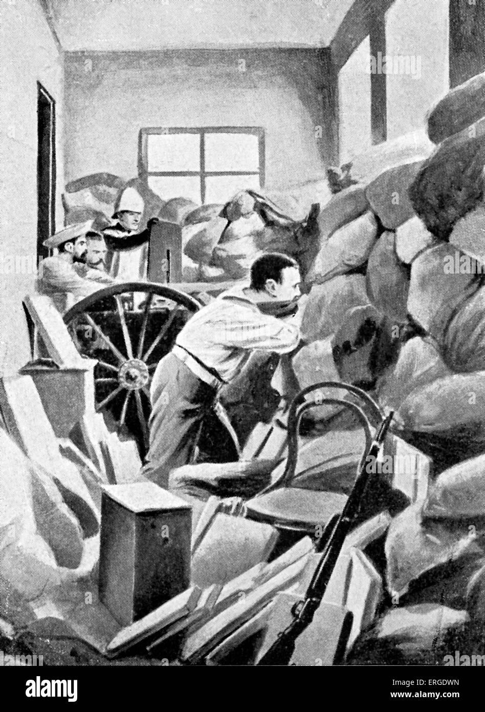 Boxer Rebellion in Peking - British Marine 's Nordenfeldt gun being used against the Boxers on balcony in British - Stock Image
