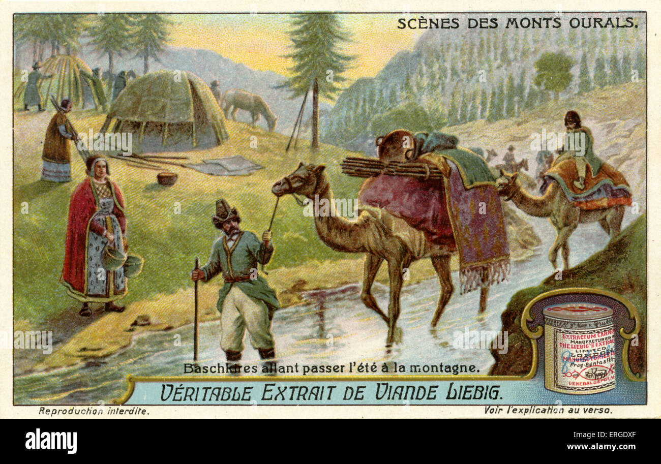 Bashkirs going to spend summer in the mountains, 1914. Turkic people indigenous to Bashkortostan, Russian region - Stock Image