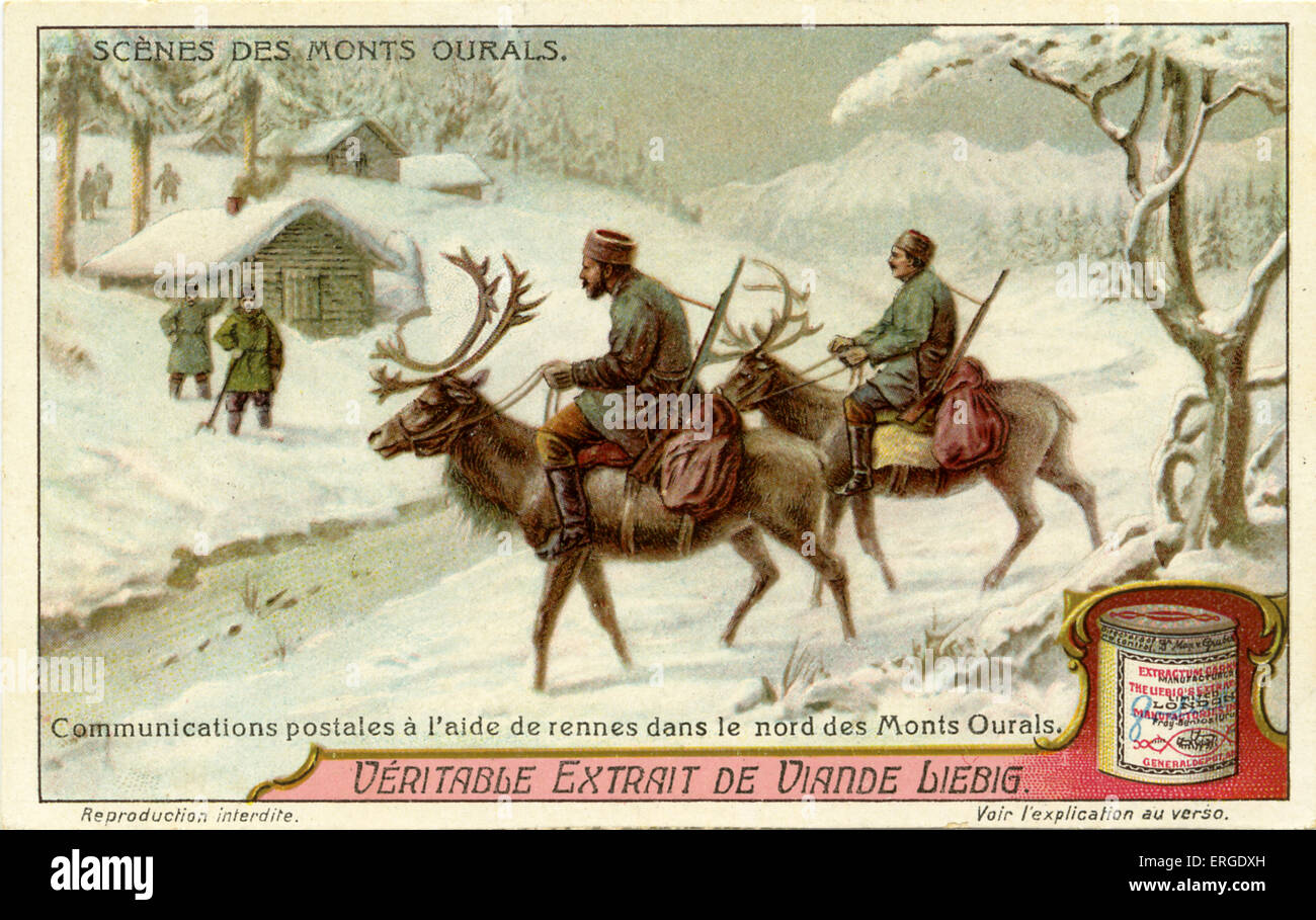 Postal service with reindeer in the northern Ural Mountains, 1914.  Liebig Company collectible card series:  Scenes - Stock Image