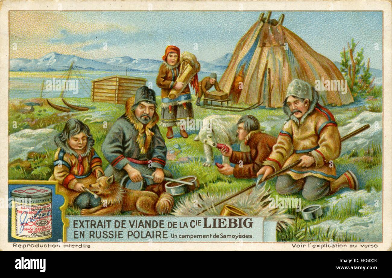 Samoyedic encampment,  1928. Linguistic grouping of peoples who speak Samoyedic languages in Siberia, Russia.  Liebig - Stock Image