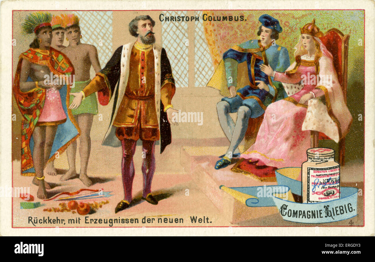 Christopher Columbus presents his discoveries from the New World. He returned to Spain from his first voyage to Stock Photo