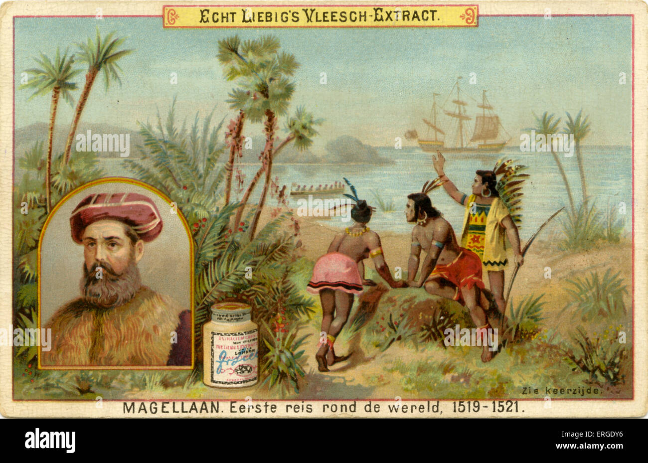 Magellan 's first voyage around the world, 1519- 1521. Published in 1891. Liebig Company series of Dutch collectible - Stock Image