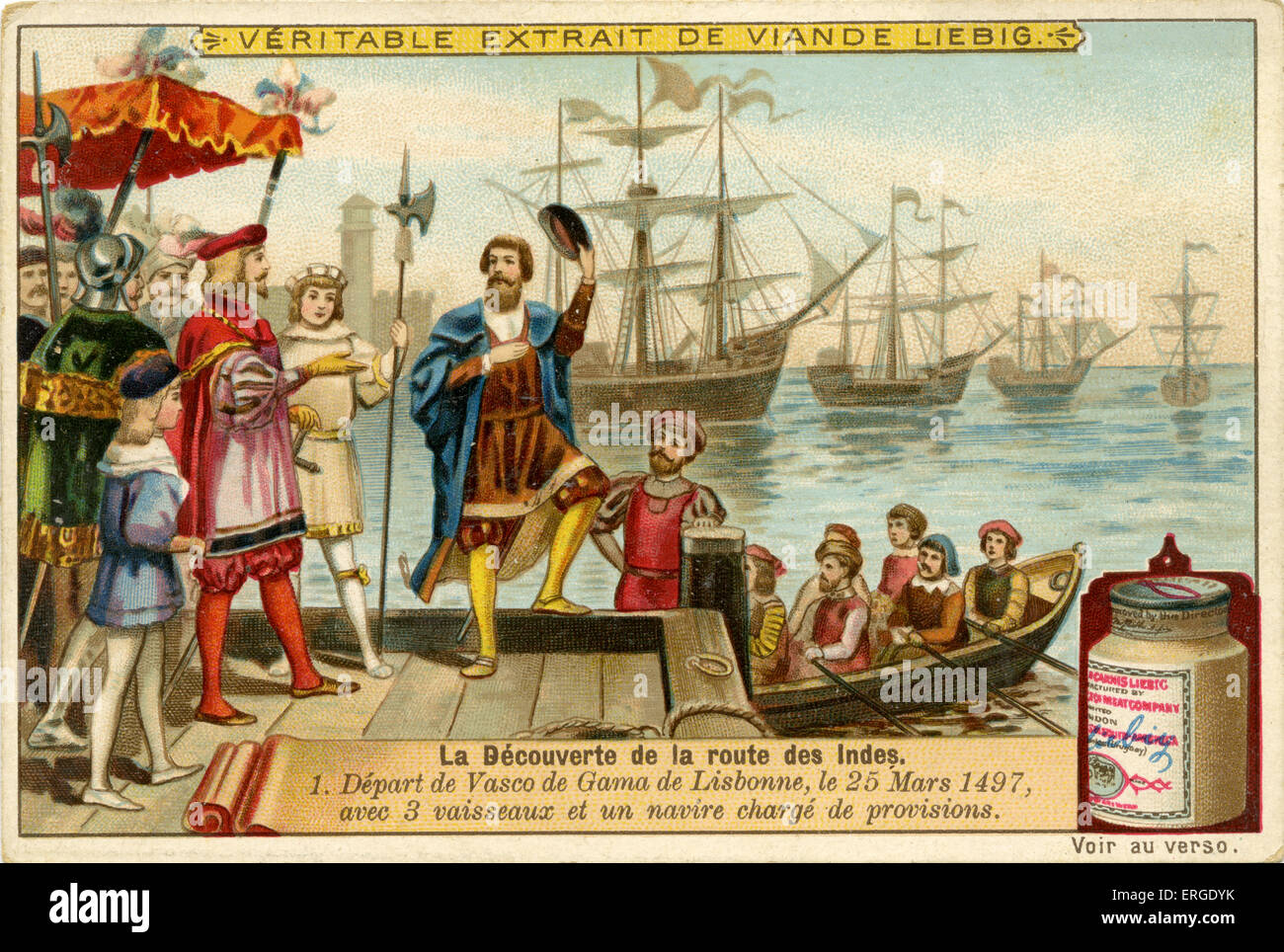 Vasco de Gamma departs from Lisbon with four ships, 25 March 1497.  Liebig Company collectible cards series: 'The - Stock Image