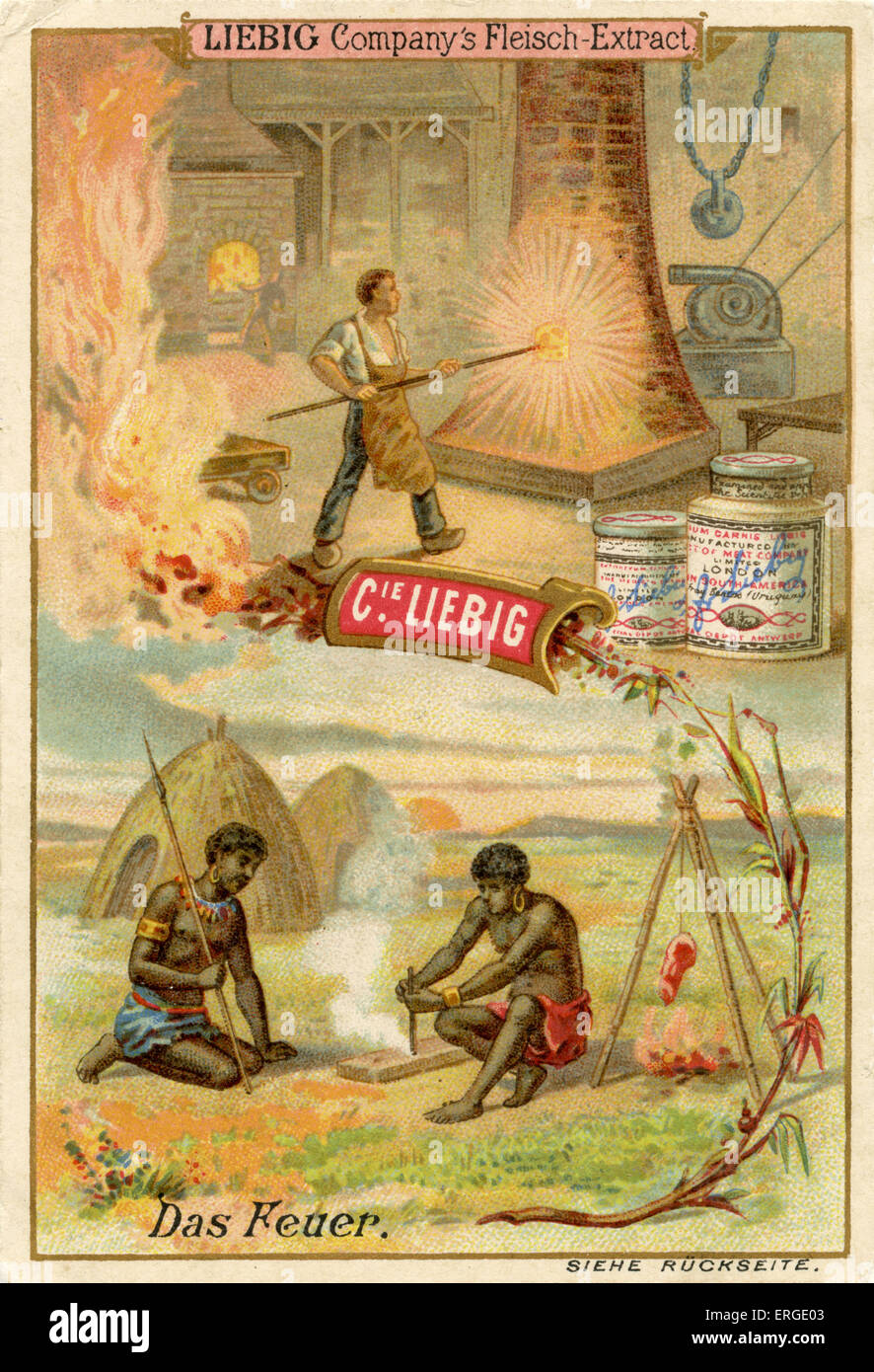 Fire ('Das Feuer') - Liebig Company collectible cards,  natural resources series. Published 1892. - Stock Image