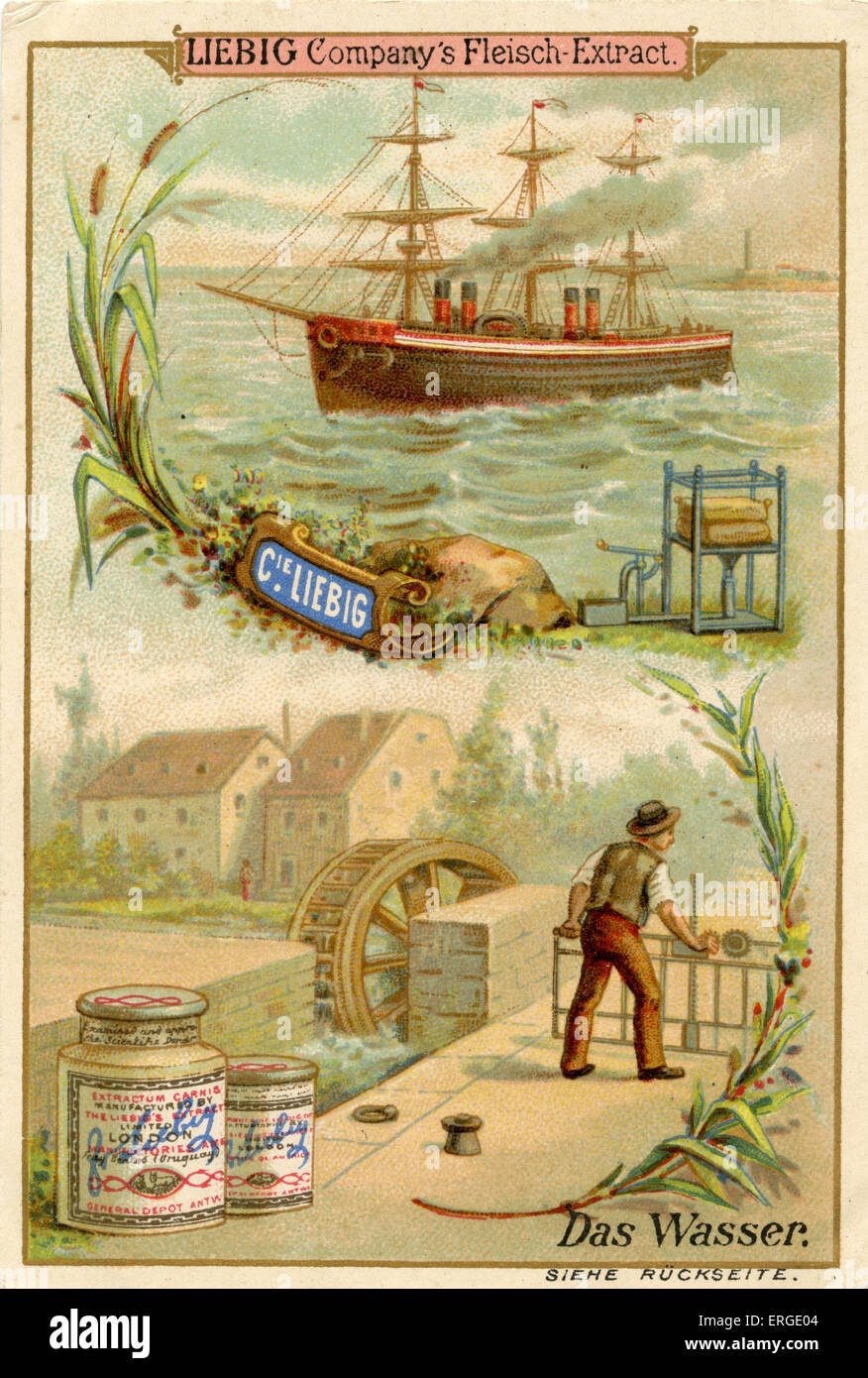 Water ('Das Wasser') - Liebig Company collectible cards,  natural resources series. Published 1892. - Stock Image