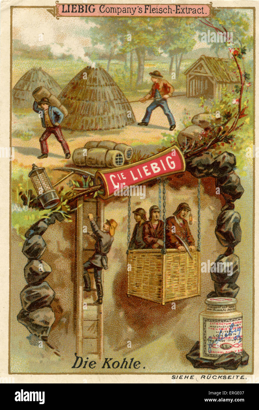 Coal ('Die Kohle') - Liebig Company collectible cards,  natural resources series. Published 1892. - Stock Image