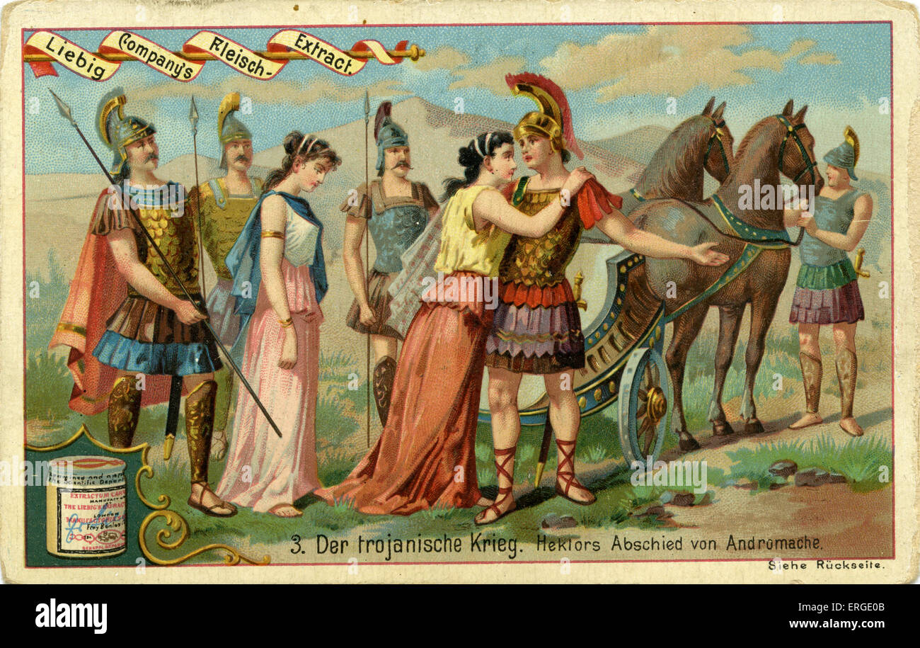 The Trojan Wars: Hector 's farewell to Andromache -   Liebig Company collectible card series : The Trojan War - Stock Image