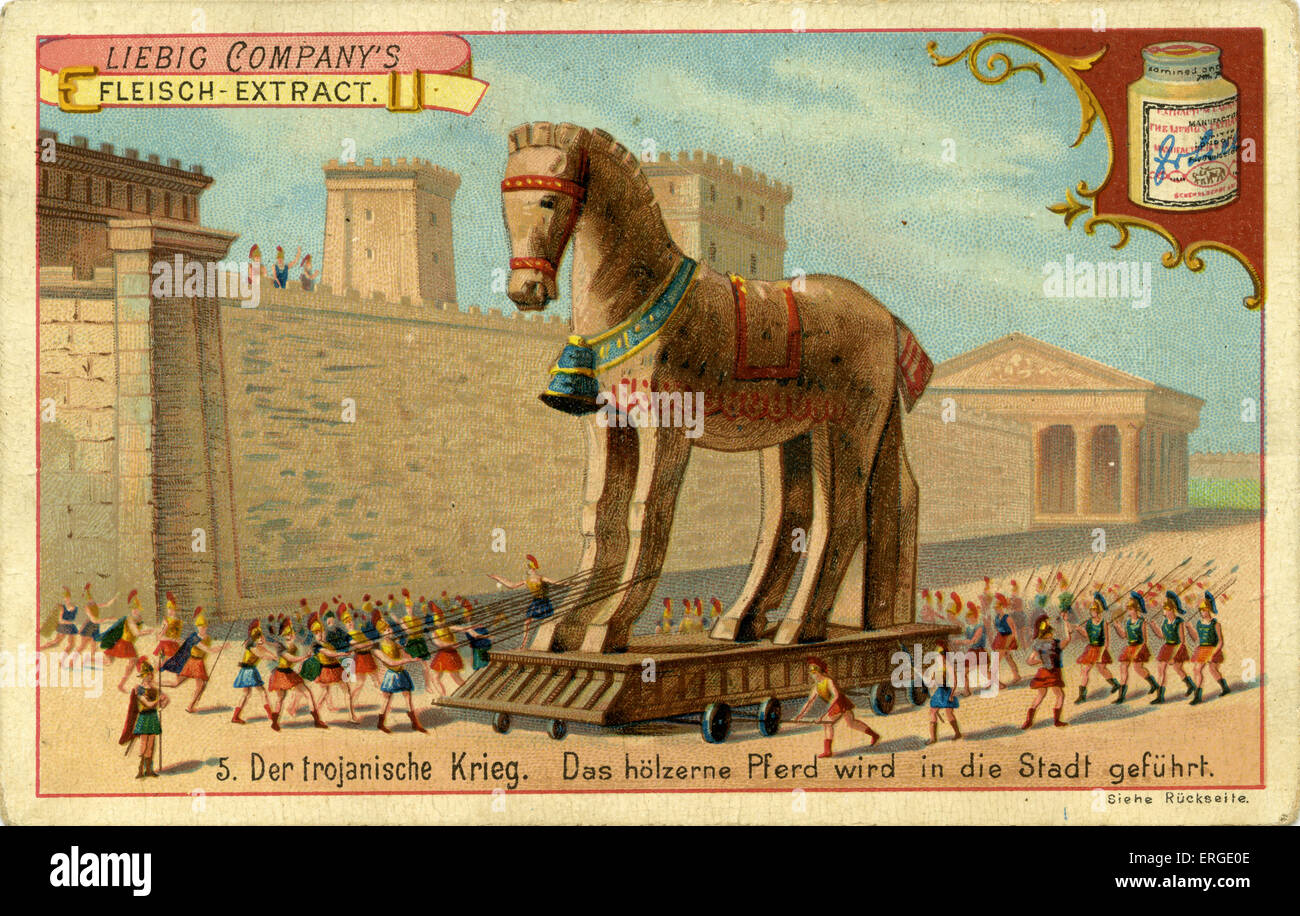 The Trojan Wars: The Wooden Horse is led into the town -  The Trojans bring the wooden horse into Troy, unaware - Stock Image
