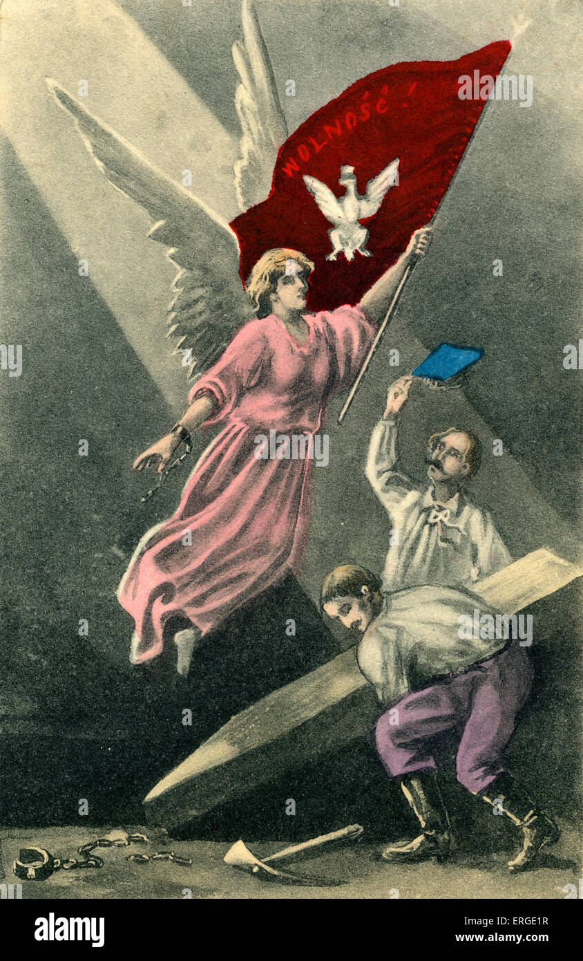 Polish liberation metaphor. Two 19th century men release an angel holding a flag with the Polish national emblem - Stock Image