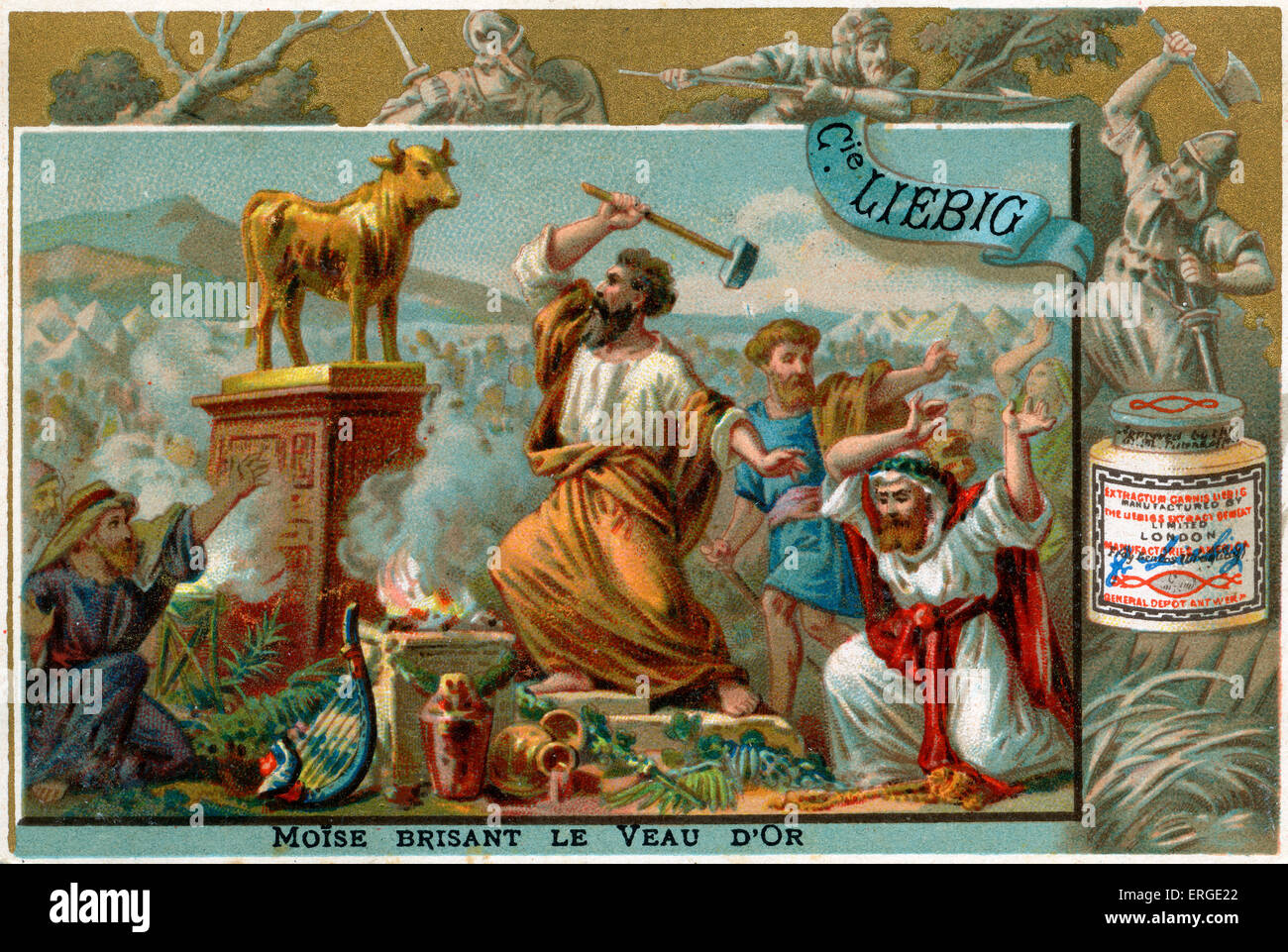 Moses destroys the golden calf. 'He took the calf which they had made, and burnt it in the fire, and ground - Stock Image
