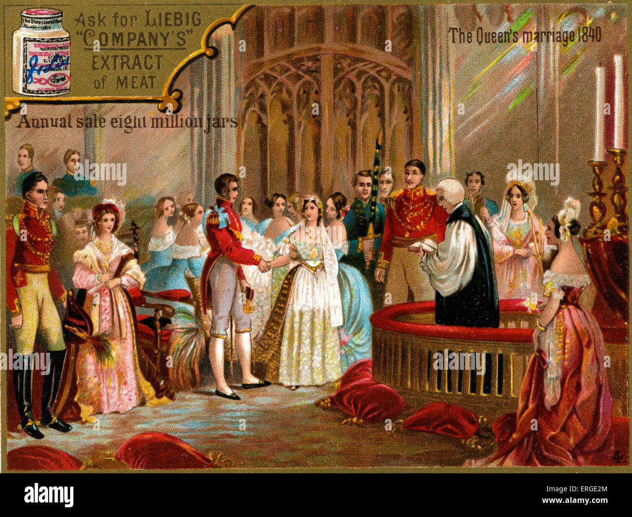The marriage of Queen Victoria to Prince Albert. Caption reads: 'The Queen's marriage 1840'. Liebig - Stock Image