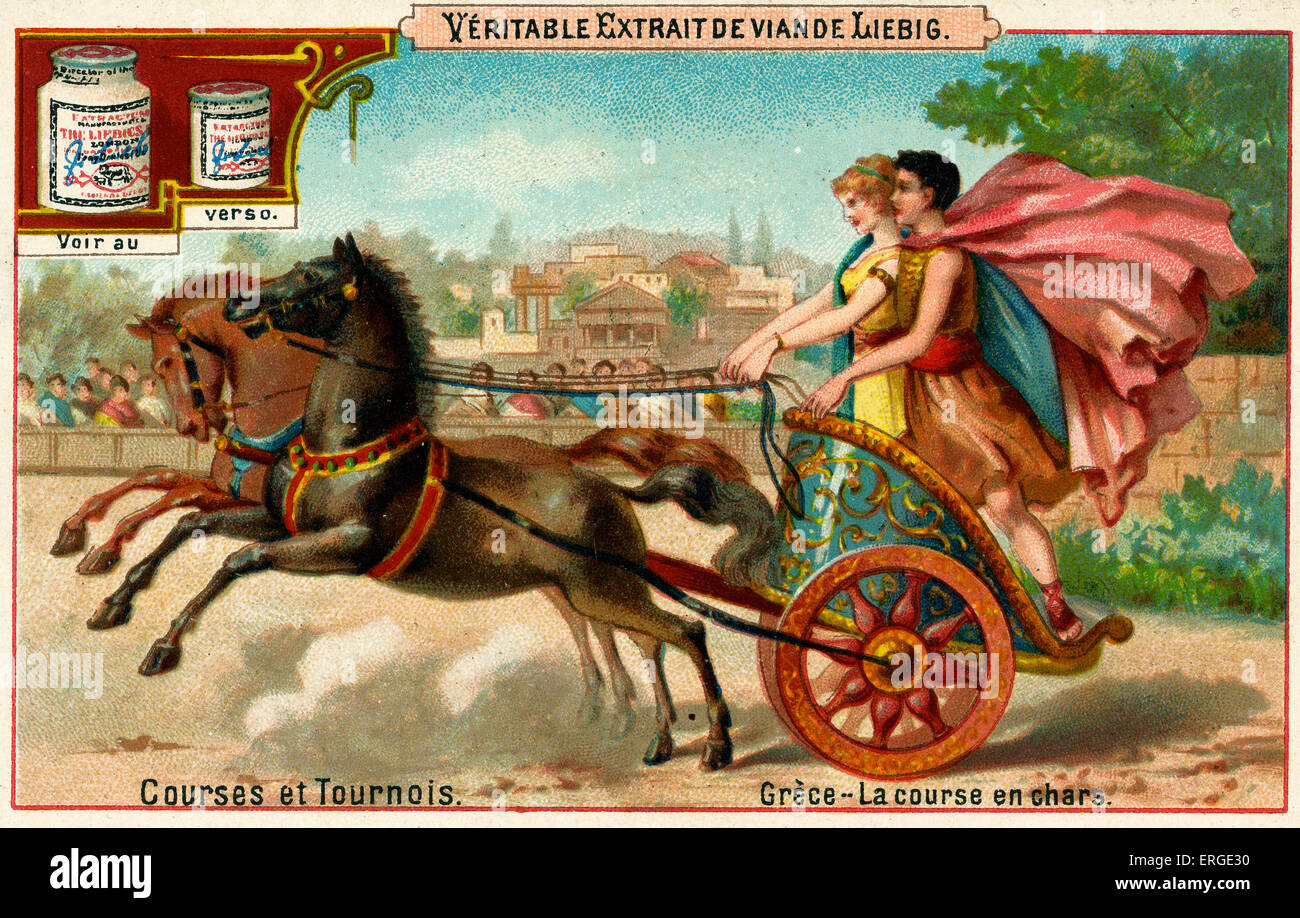 Greek chariot race. Caption reads: 'Grèce - La course en chars'. Liebig card series: Courses et Tournois - Stock Image