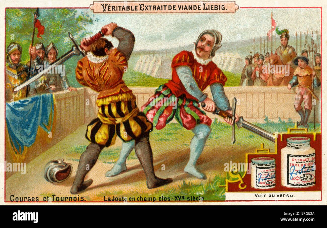 Jousting tournament. Caption reads: 'LeTournoi au XVIième siècle'. Liebig card series: Courses - Stock Image