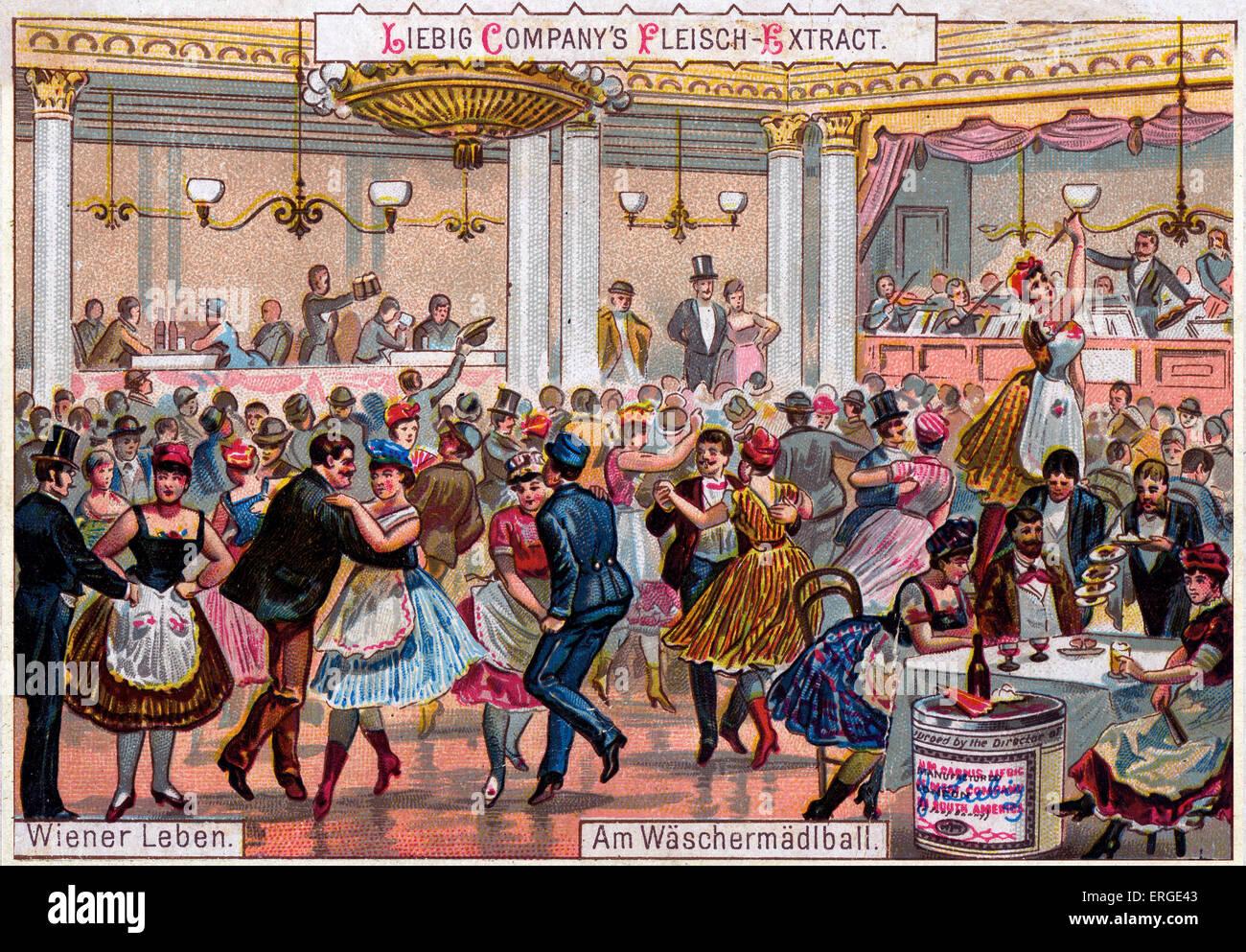 The washerwomen's ball. Caption reads: 'Am Wäschermädlball'. Viennese ballroom in the 19th - Stock Image