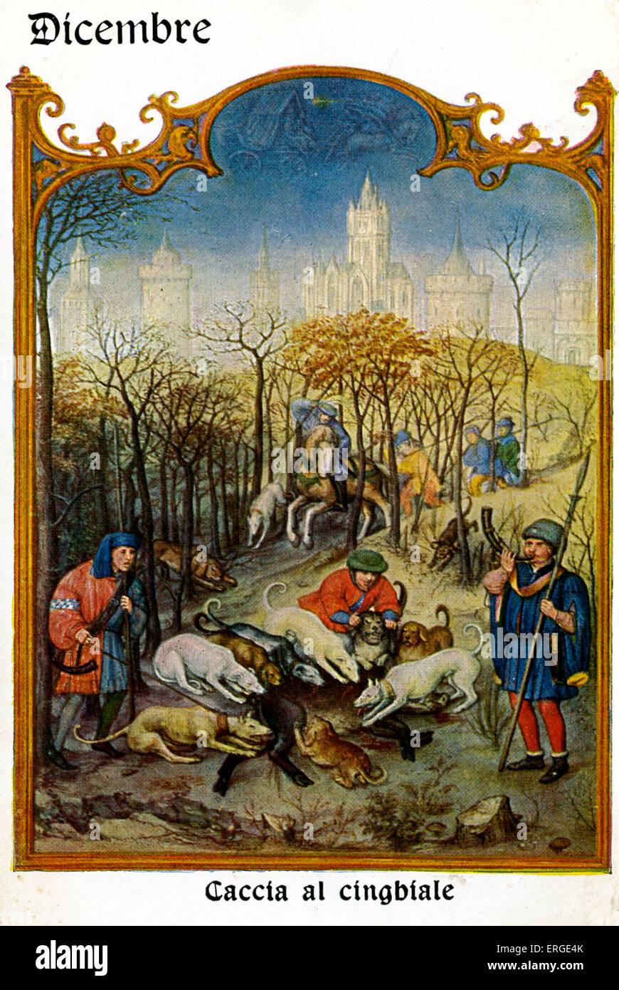 Grimani Breviary (Breivario Grimani) - December (Dicembre). Scene entitled 'Caccia al cinghiale' ('Wild - Stock Image