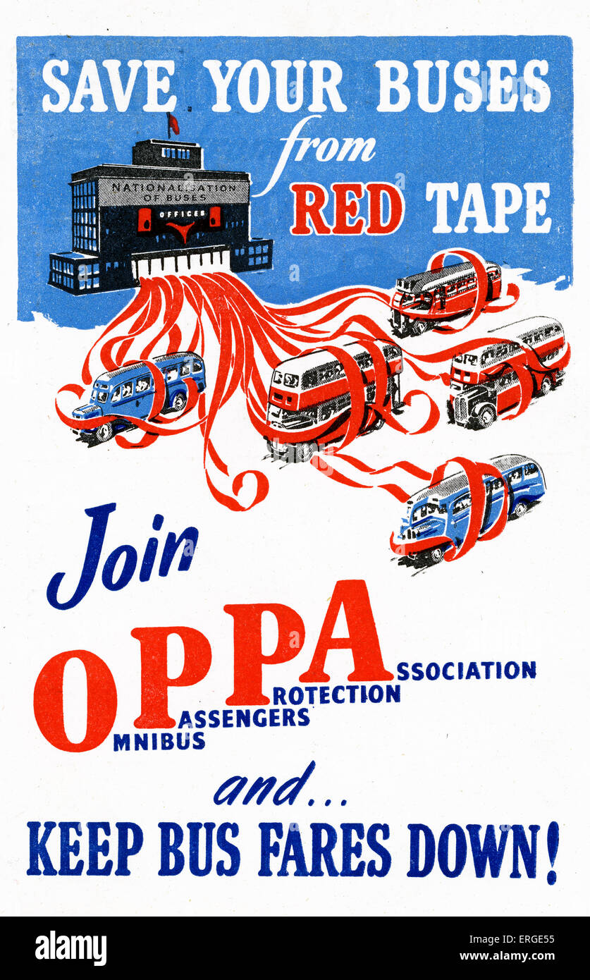 Omnibus Passangers Protection Association (OPPA) - campaign advert, 1950s. Campaign against nationalisation of buses - Stock Image