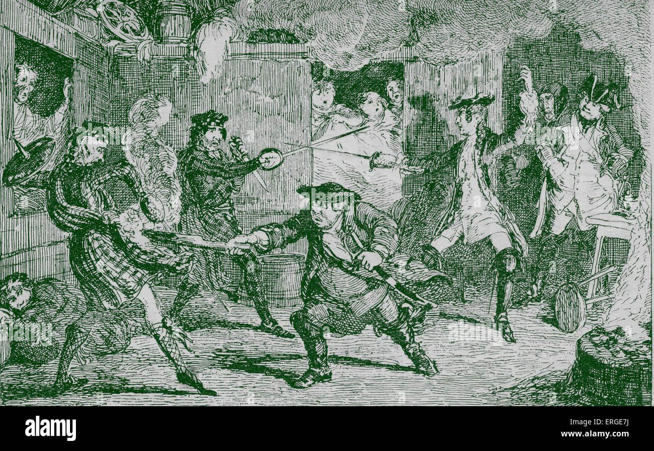 Rob Roy  by Sir Walter Scott. Caption: Fray in Jeanie MacAlpine's Public-House . First published 1817  .  RR: - Stock Image