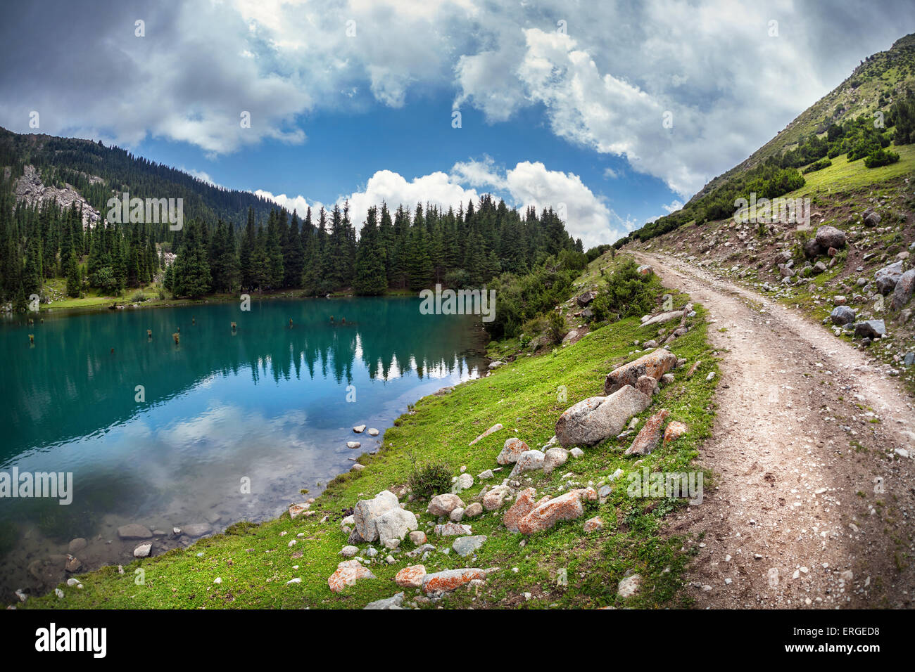 Mountain Saint lake in Gregory gorge in Kyrgyzstan, Central Asia Stock Photo