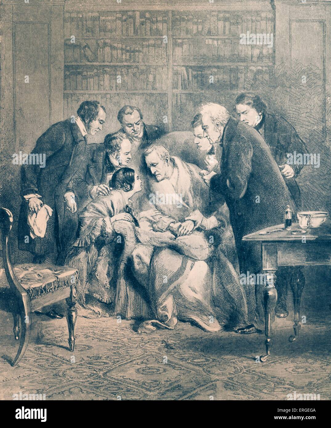 Duke of Wellington 's death - pictured surrounded by friends, including Lord and Lady Charles Wellesley. Field - Stock Image