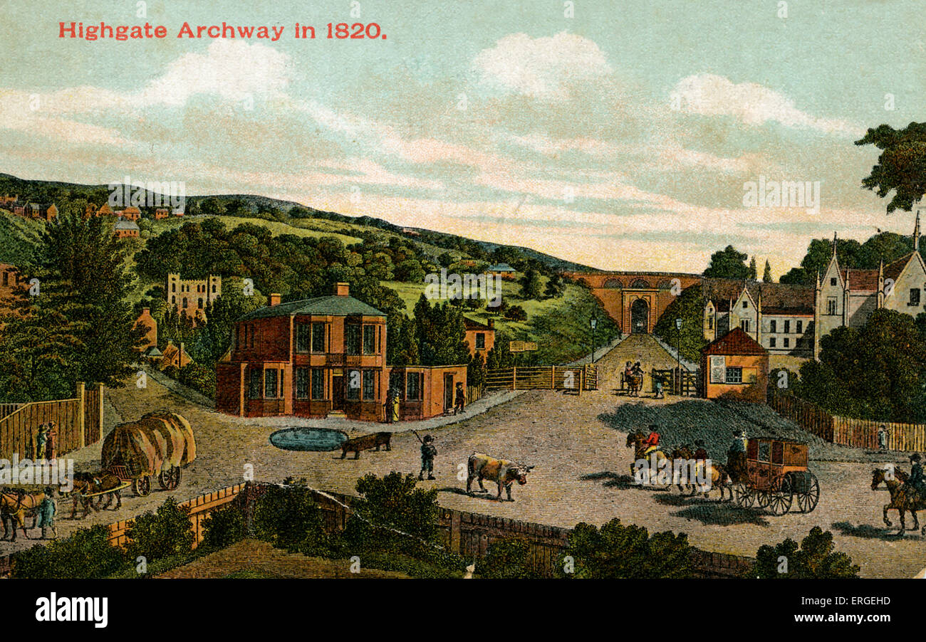 Highgate Archway in 1820. London, UK. Stock Photo
