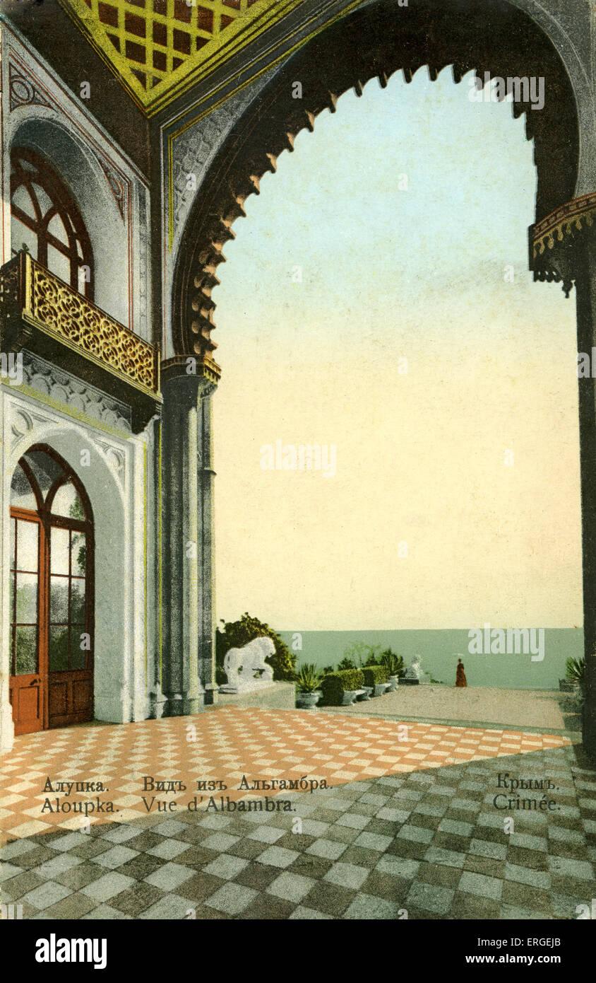 Caption reads: 'Vue d'Alhambra, Alupk in Crimea, or modern Ukraine'. Postcard - Stock Image