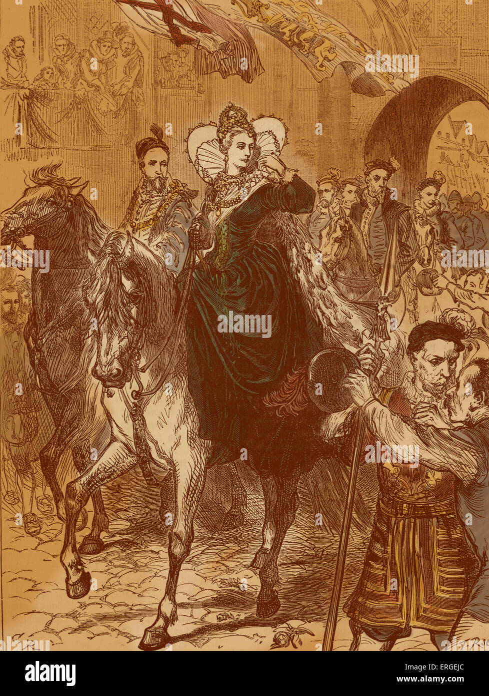 Queen Elizabeth I enters London, 23 December 1558. On horseback accompanied by her court. Queen of England and Ireland - Stock Image