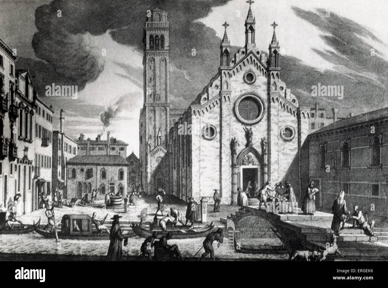 VENICE - CHURCH OF THE FRARI View from the Canal.  Gondolas in front of square. Time of Vivaldi, Albinoni, Galuppi, - Stock Image