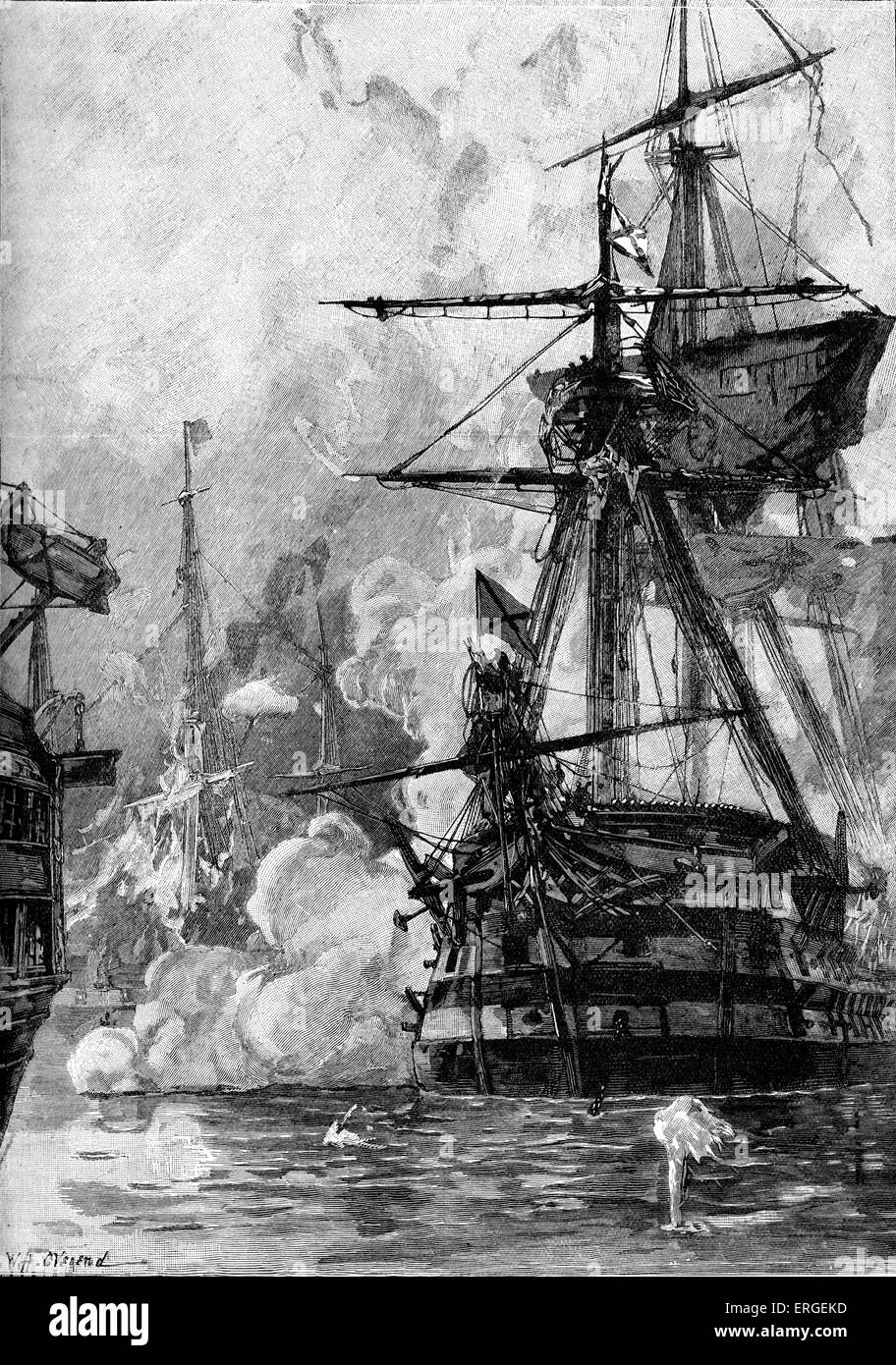 Battle of Sinop, 30 November 1853. Imperial Russian war ships attacked and destroyed patrol force of Ottoman ships - Stock Image