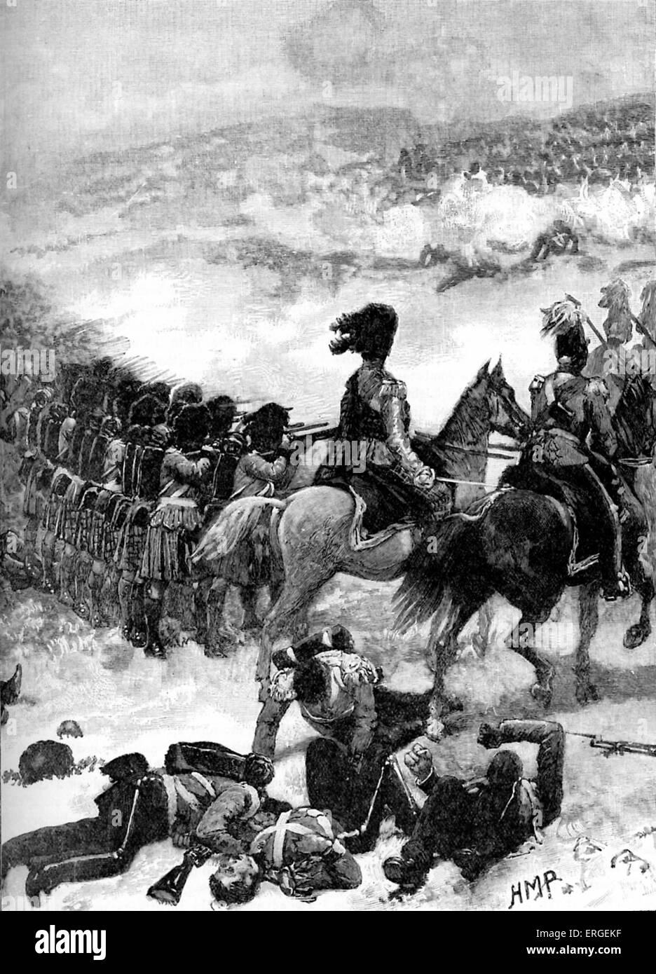The Highlanders at the Battle of Alma. British vanguard on 20 September 1854, during Crimean War  (October 1853 - Stock Image