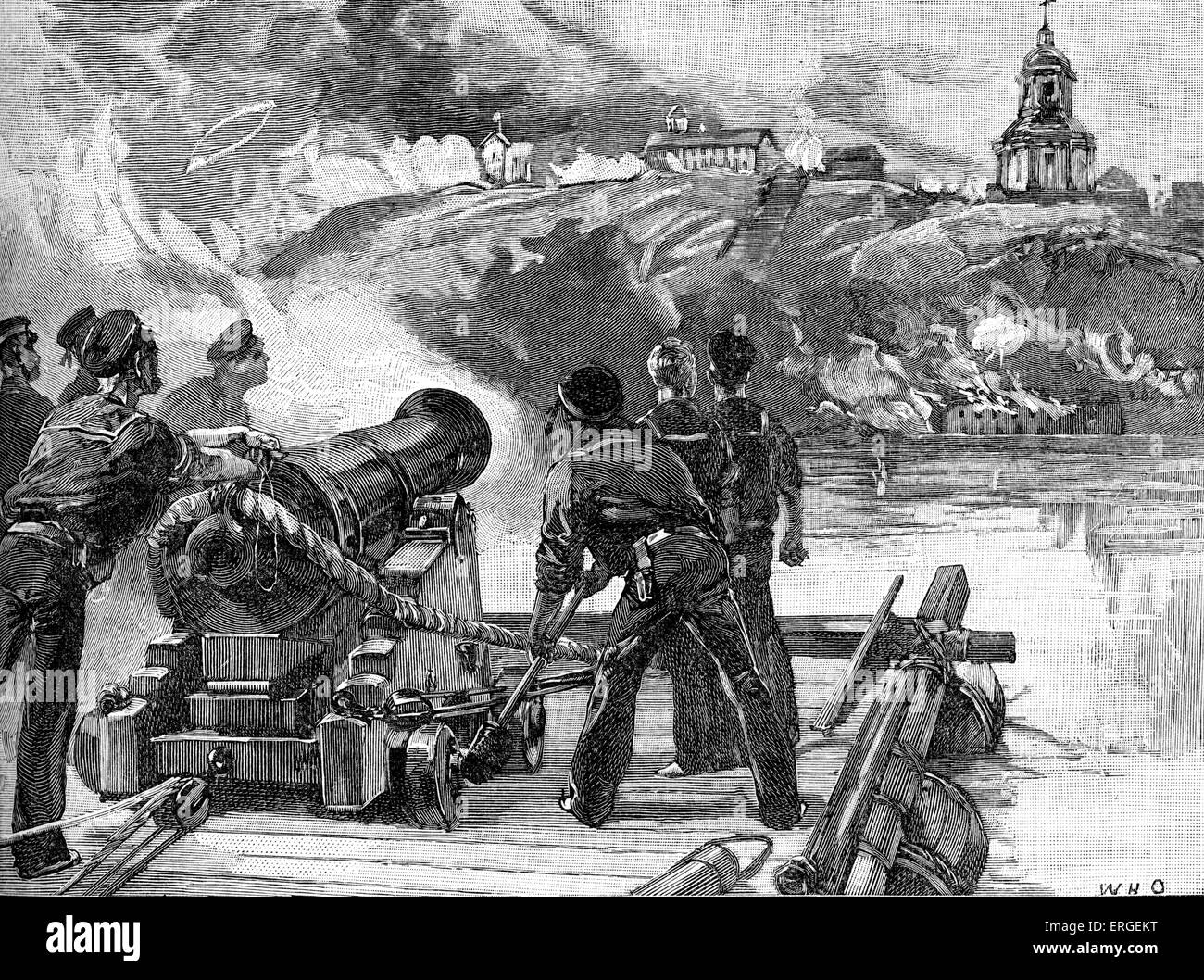 Siege of Taganrog  - during the Crimean War (1853–1856). Bombardment of  Taganrog from the British raft during the - Stock Image