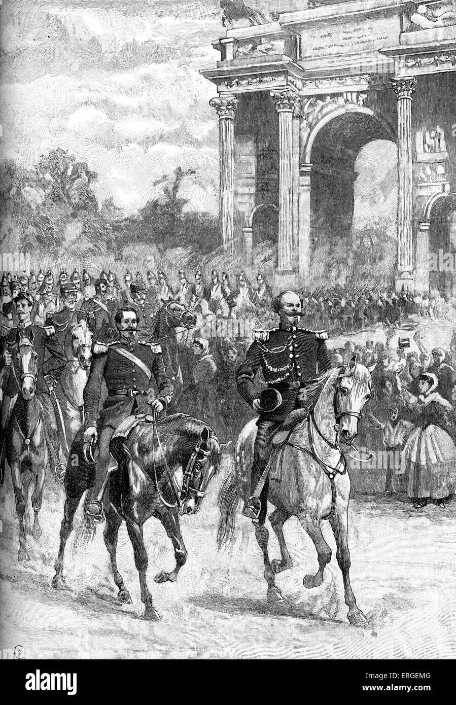 Napoleon III and King Victor-Emmanuel enter Milan, June 1859. Austrian defeat at the Battle of Magenta (4 June) - Stock Image
