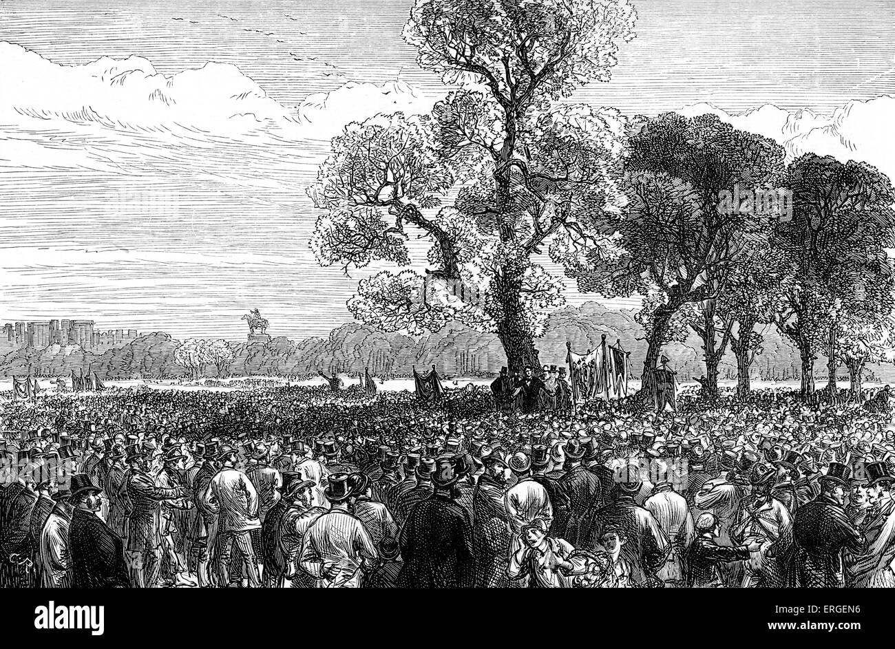 Meeting at the Reformers Tree, Hyde Park, London. Hyde Park demonstration, 29 June 1866. Reform League created in - Stock Image