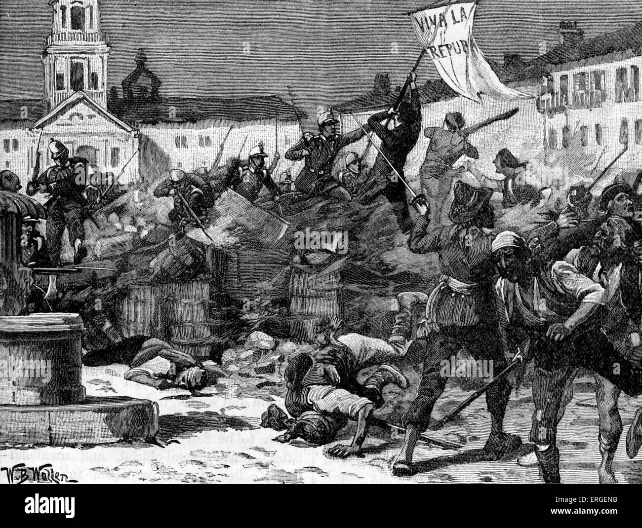 Street fighting in Malaga, Spain during Glorious Revolution (La Gloriosa), 1868. Led to deposition of Queen Isabella - Stock Image