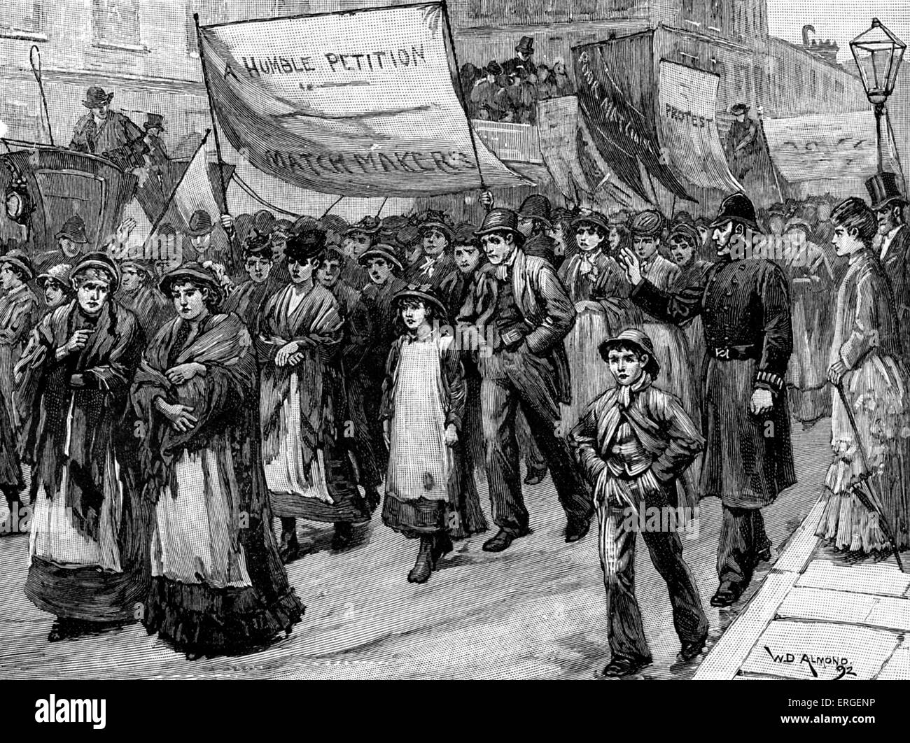 ' Match Tax' protest towards House of Commons, Westminster, 24 April 1871. Protest following  Chancellor - Stock Image