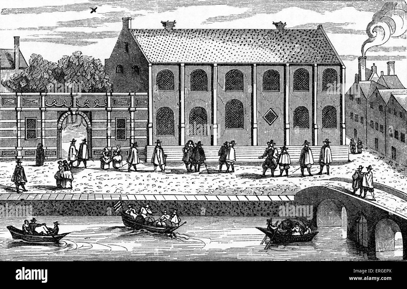 Leiden University, Holland - from drawing in 'Illustrium Hollandiae, etc., ordinum alma Academia Leydensis ' - Stock Image