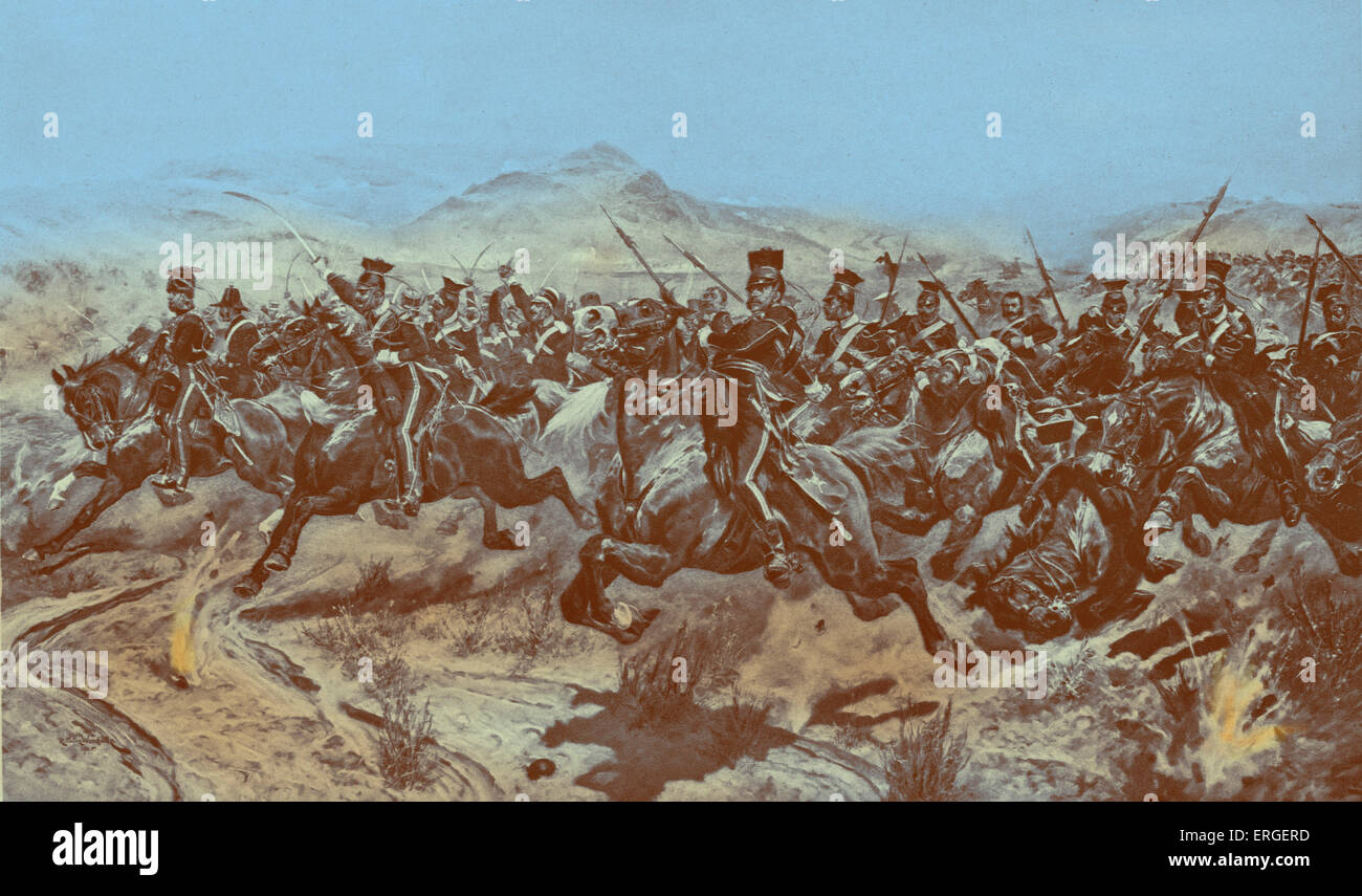 The Charge of the Light Brigade at Balaclava,  25 October 1854. From engraving after painting by Richard Canton - Stock Image