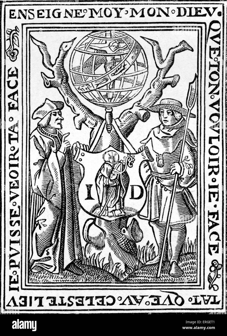 Bookplate of Jehan St. Denis, Book seller in Paris, Rue Neufve Nostre Dame, at the sign of St Nicholas: 'Petit - Stock Image