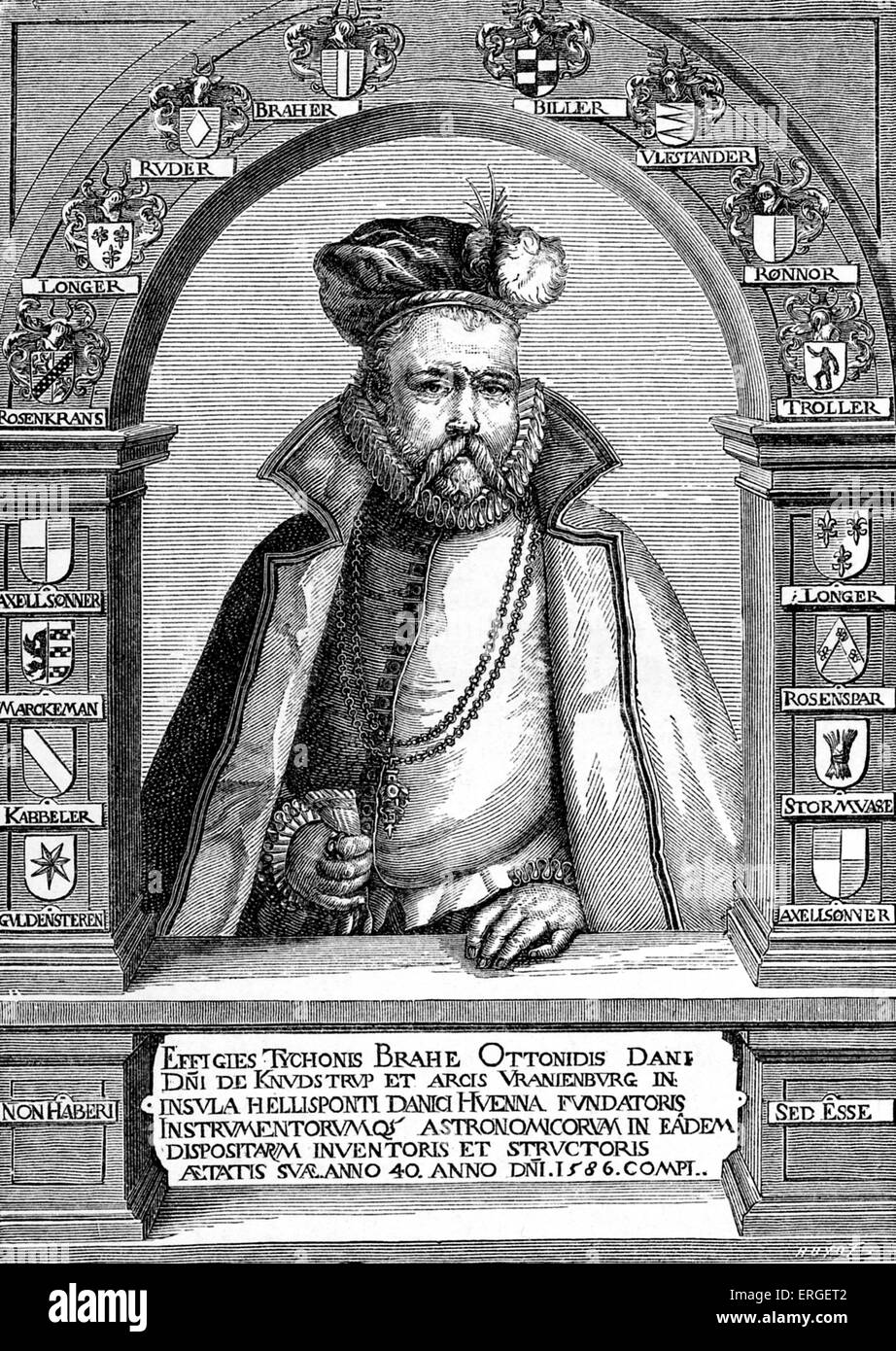 Tycho Brahe - portrait from engraving by Gheyn, late 16th century. Born Tyge Ottesen Brahe, Danish nobleman known - Stock Image