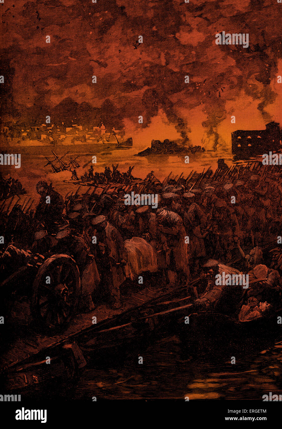 Russian evacuation of Sevastopol  during Crimean War. Siege of Sevastopol  by allied (French, British, Ottoman and - Stock Image