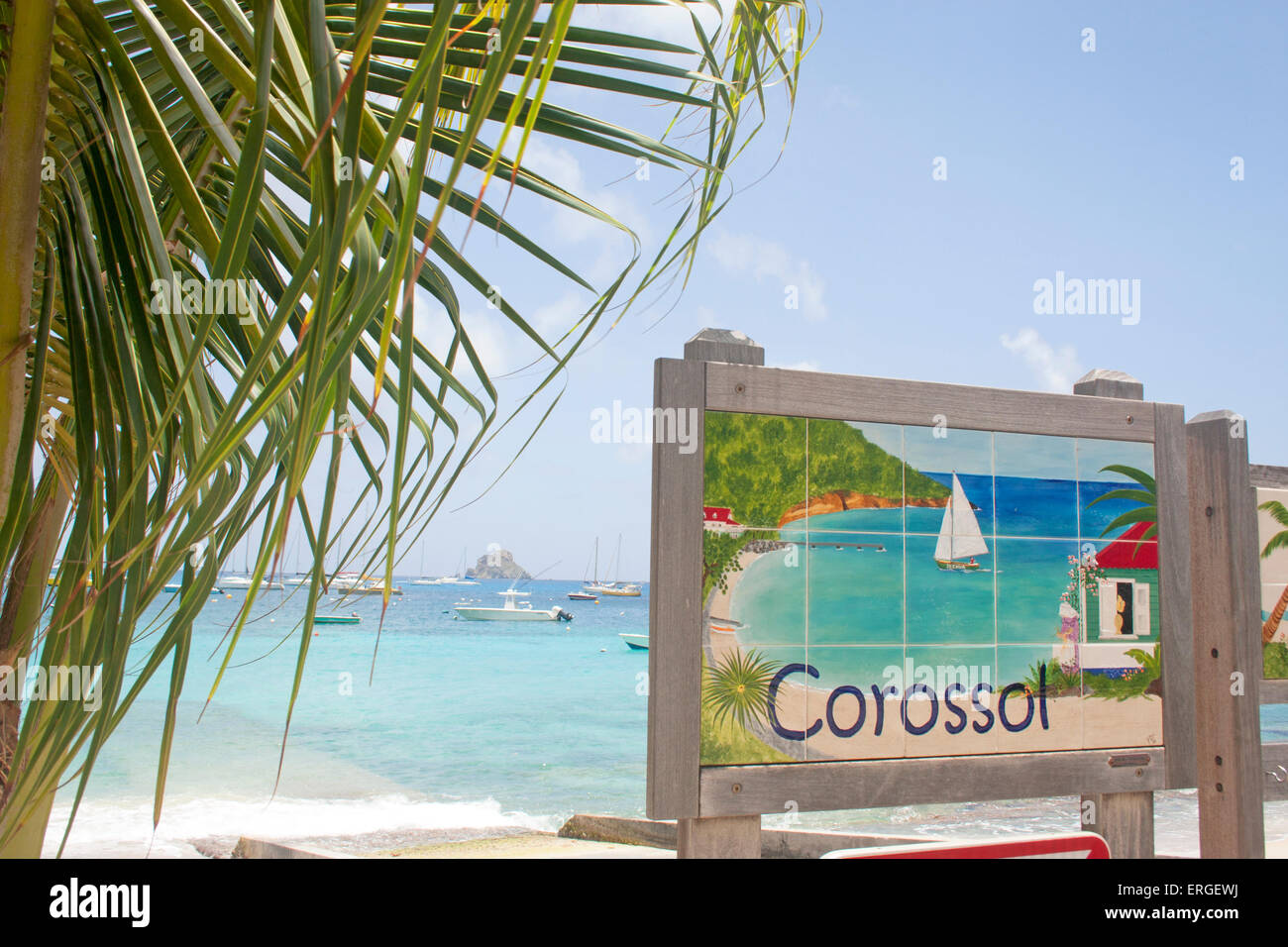 A colorful mosaic tile sign for Corossol beach in St. Barts - Stock Image