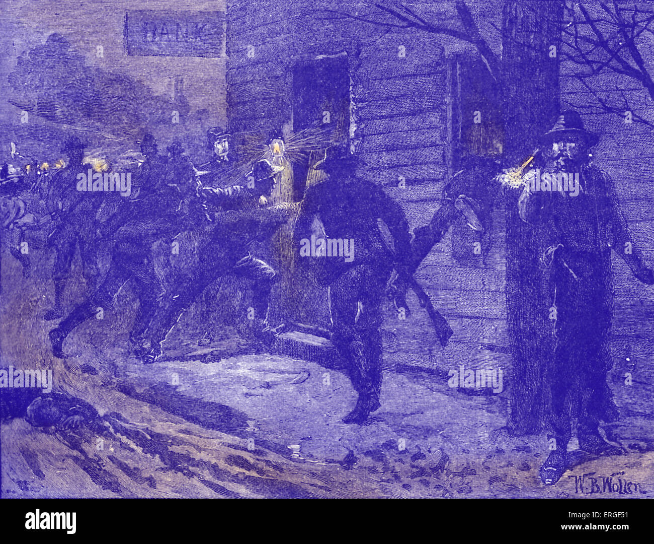 American Civil War: St Albans Raid.   Confederate raid on St. Albans, Vermont on 19 October 1864. Northernmost action - Stock Image