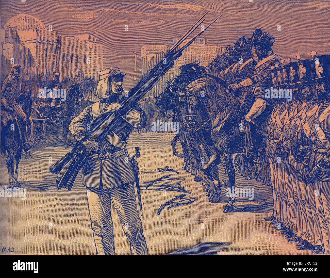 Disarmament of the 26th Indian regiment at Barrackpore, India. During the Indian Mutiny of 1857. Began as  mutiny - Stock Image