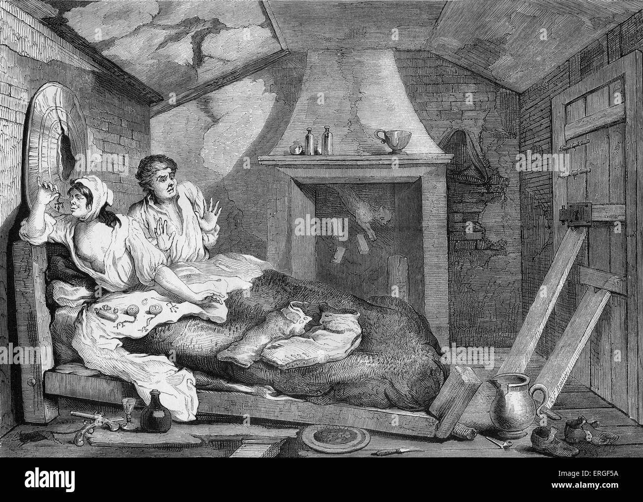 Industry and Idleness by William Hogarth. Plate VII - Thomas Idle returned from sea. WH: English artist - 1697  - Stock Image