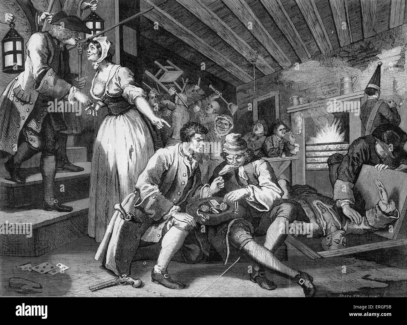 Industry and Idleness by William Hogarth. Plate IX - Tom Idle betrayed by his mistress. WH: English artist - 1697 - Stock Image