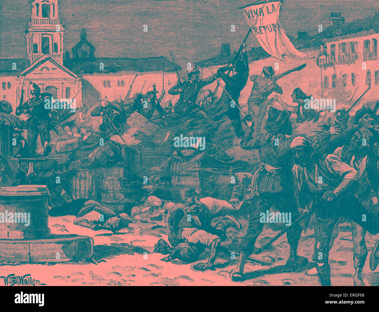 Street fighting in Malaga, Spain during Glorious Revolution (La Gloriosa), 1868. Led to deposition of Queen Isabella Stock Photo