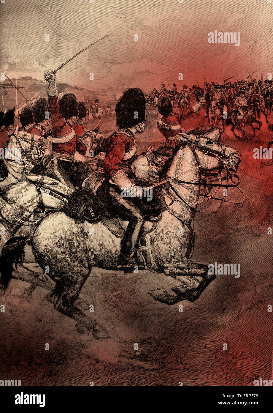 Charge of the Heavy Brigade - during the Crimean War, 1854. Conflict between the Russian Empire and an alliance - Stock Image